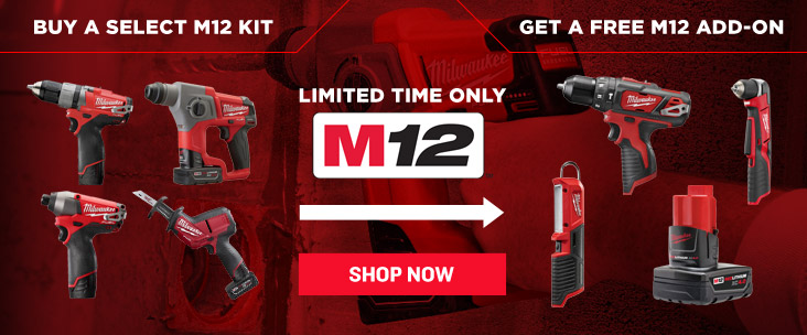 Get a Free M12 Battery or Bare Tool with Purchase of a Select Milwaukee M12 Kit