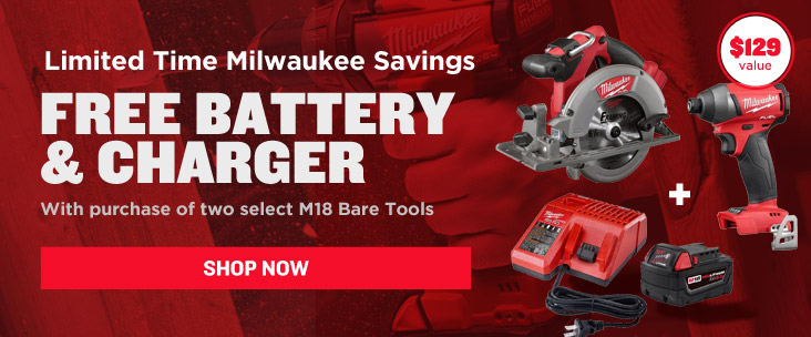 Get a Free Battery and Charger with Purchase of Two Select M18 Bare Tools