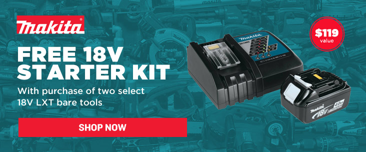 Get a free Makita battery and charger with two 18V LXT bare tools