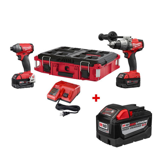 milwaukee 2897-22po m18 fuel 2 piece combo kit with free packout ...