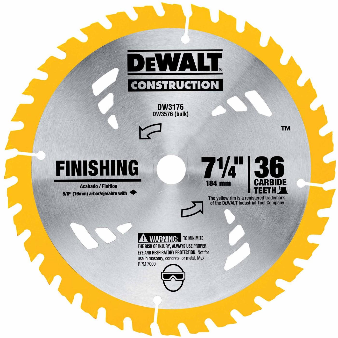 Dewalt dw3176 7 14 36t carbide thin kerf circular saw blade prevnext keyboard keysfo Choice Image