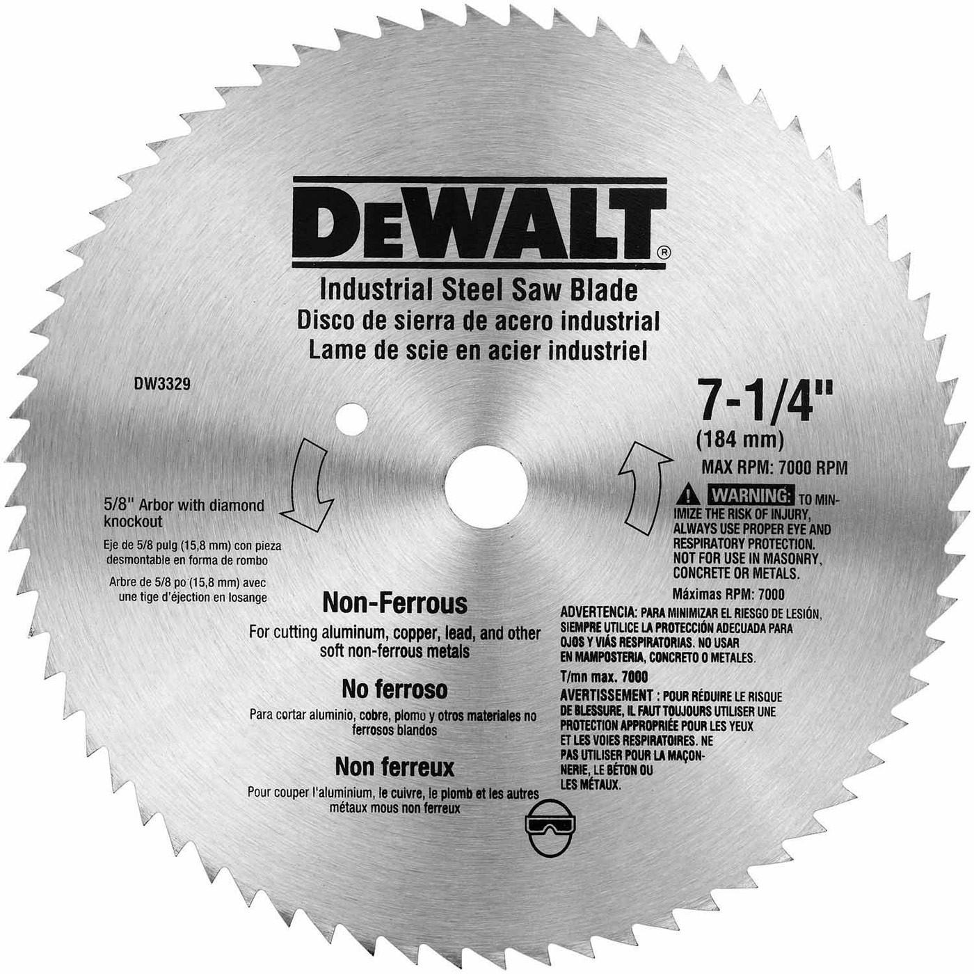 Tool accessories circular saw blades dewalt dw3329 7 14 68t steel non ferrous steel saw blade greentooth Gallery