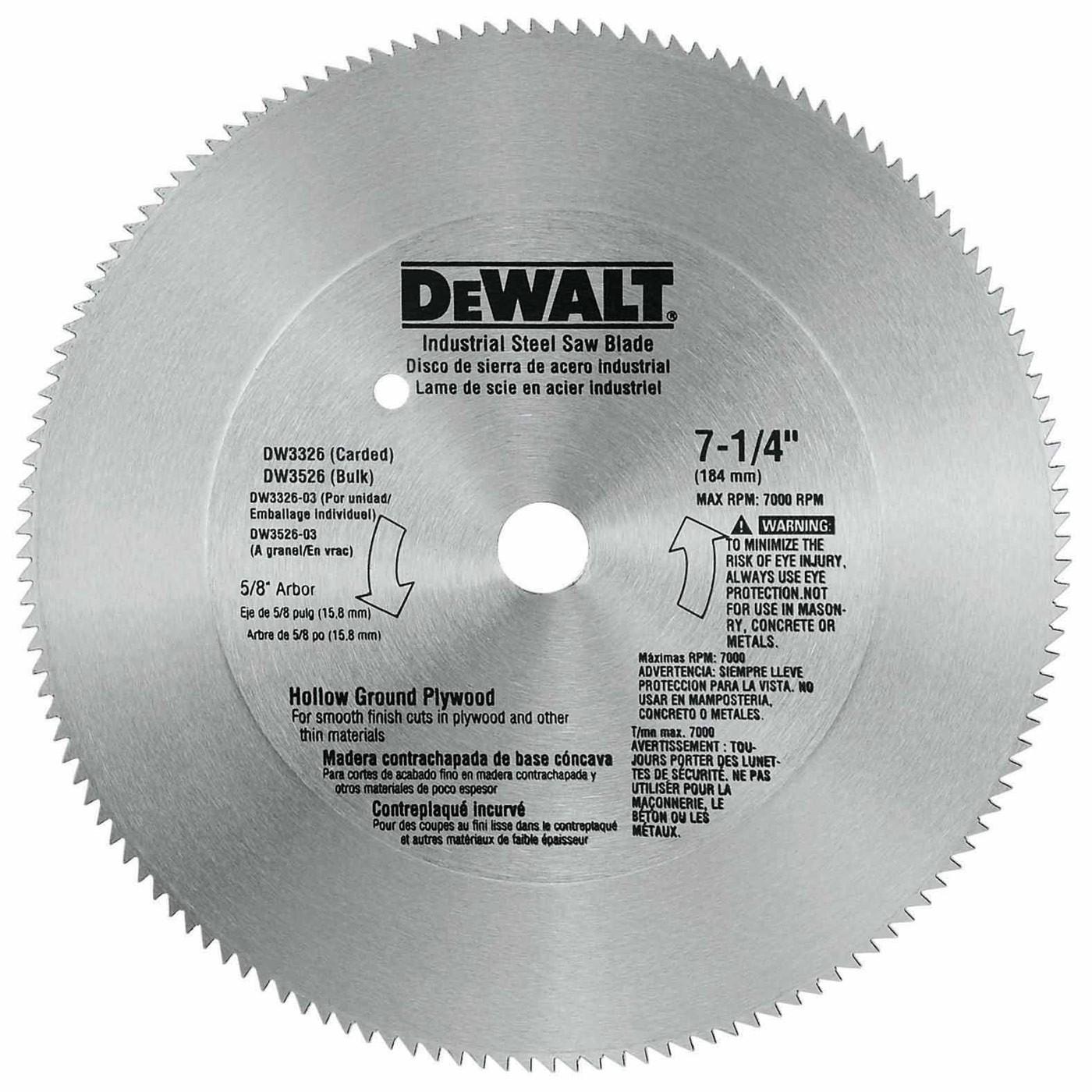 Tool accessories circular saw blades dewalt dw3326 7 14 140t steel hollow ground plywood saw blade greentooth Gallery