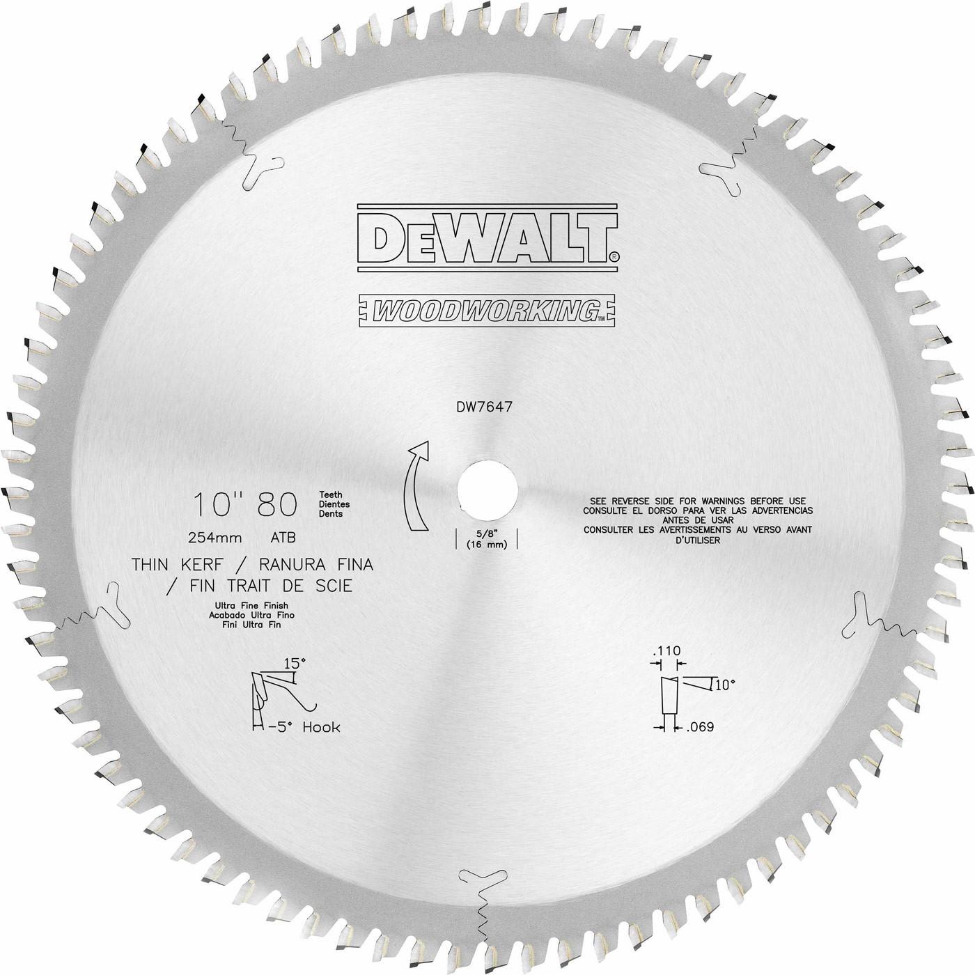 Dewalt dw7647 10 80t fine crosscuts woodworking blade keyboard keysfo Choice Image