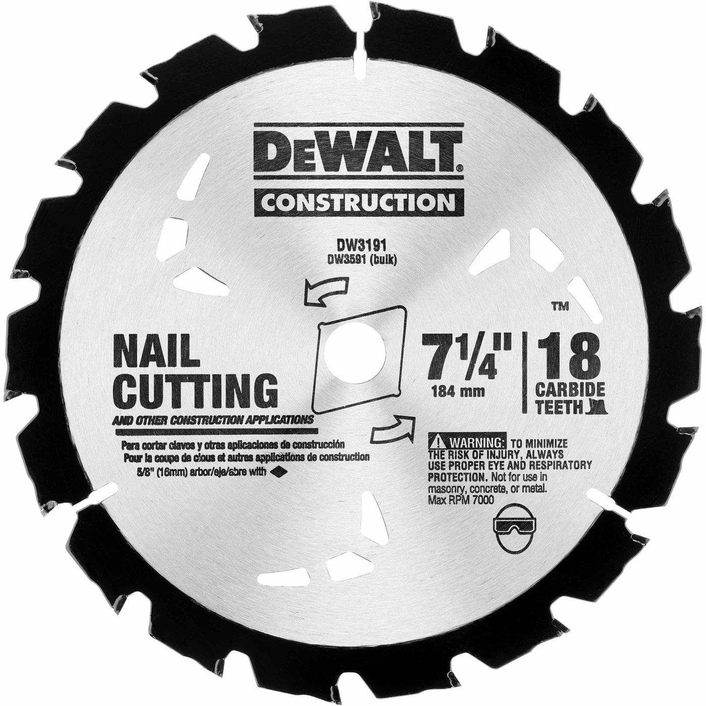 Tool accessories circular saw blades dewalt dw3191 series 20 7 14 18t nail cutting circular saw blade greentooth Choice Image