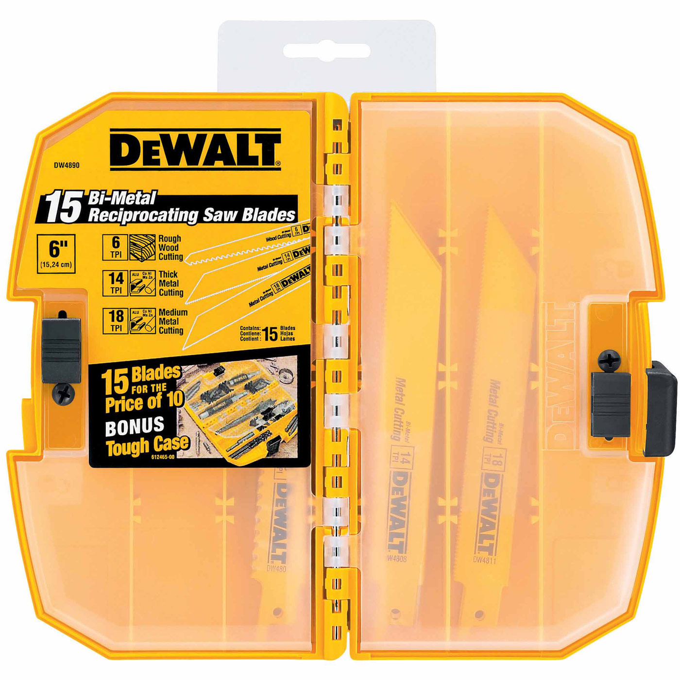 Dewalt dw4890 15 piece bi metal reciprocating saw blade set with case greentooth Image collections