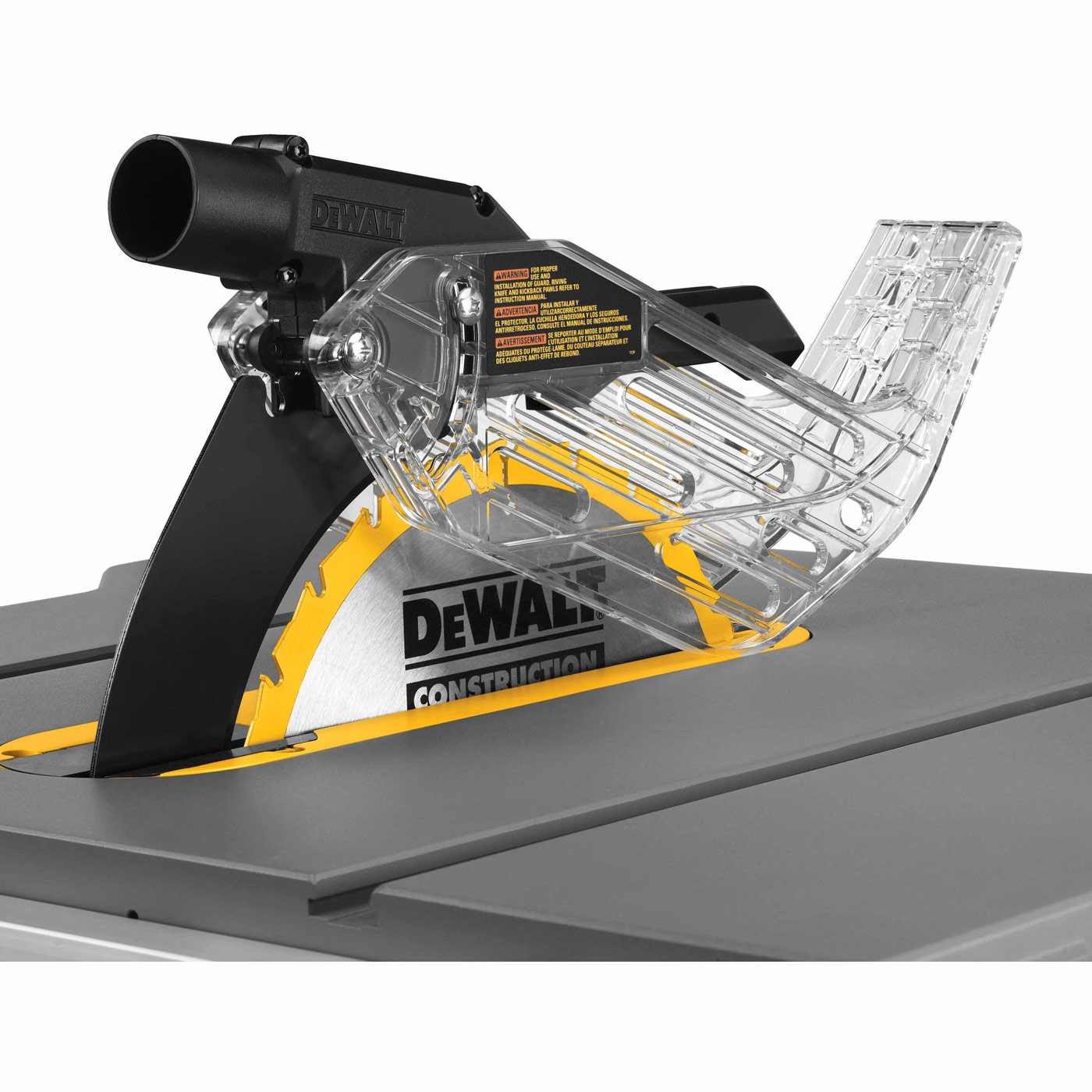 Dewalt dwe7499gd 10 jobsite table saw with guard detect 32 1 2 rip capacity and rolling stand Table saw guards