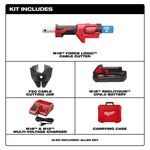 Milwaukee 2672 21 M18 Force Logic Cable Cutter With 750
