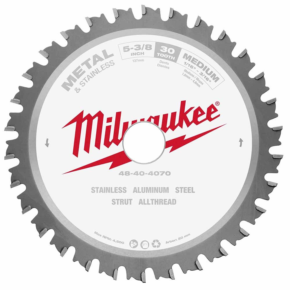 Tool accessories circular saw blades milwaukee 48 40 4070 5 38 metal saw blade 30 tooth ferrous greentooth Image collections