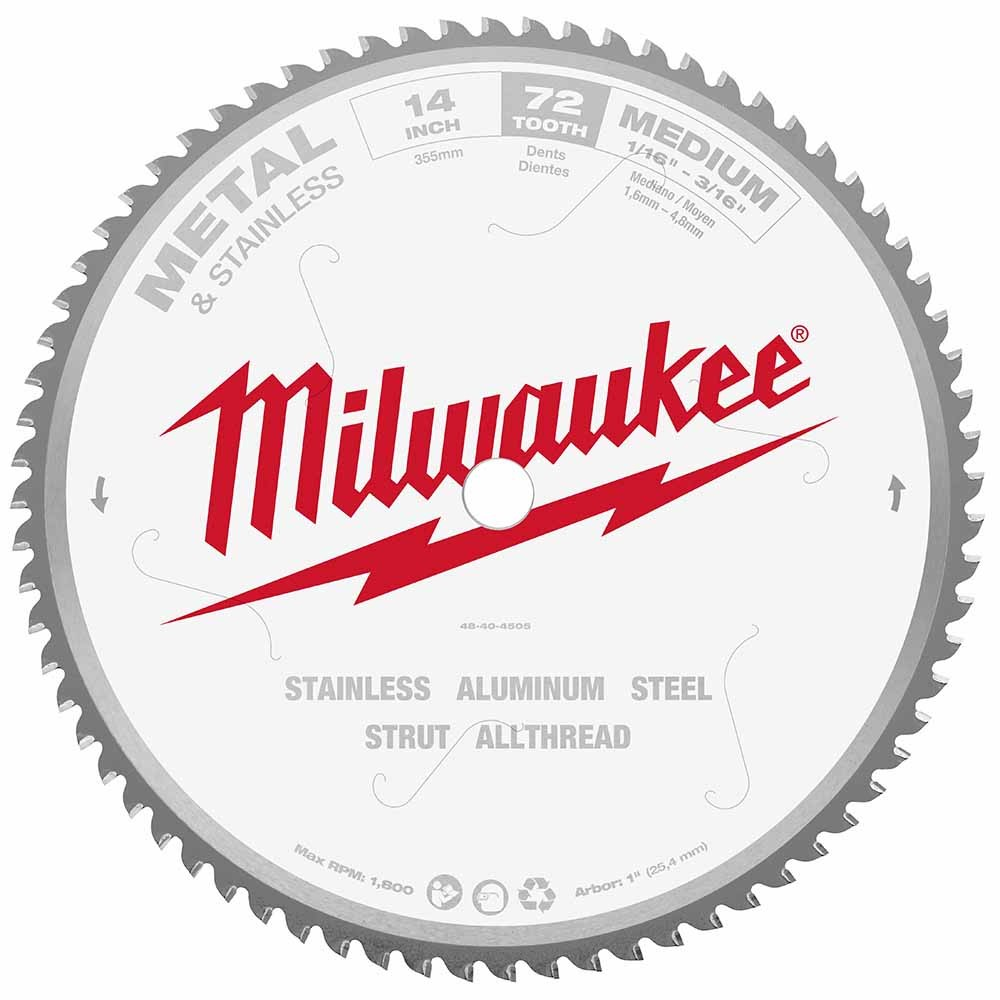 Tool accessories circular saw blades milwaukee 48 40 4505 circular saw blade 14 72 tooth dry cut carbide tipped greentooth Gallery