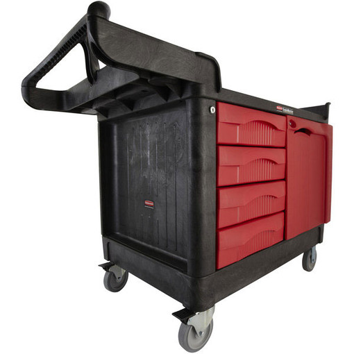 Rubbermaid Fg454888bla Trademaster 174 Cart With 4 Drawer And
