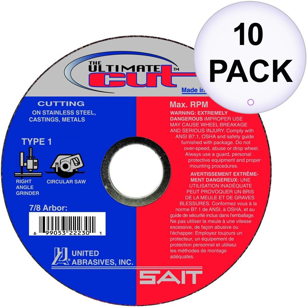 "10 Pack Sait 22345 4-1//2/"" x .045/"" x 7//8/"" Type 27 A46N Aluminum Cut-Off Wheels"