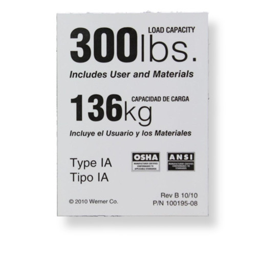 Werner Ldr300 Weight Rating Label For 300 Lbs Ladders